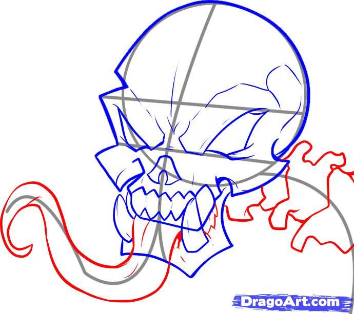Рисуем череп с языком - шаг 5