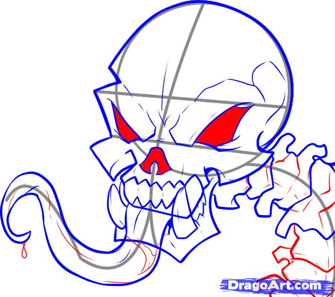 Рисуем череп с языком - шаг 6