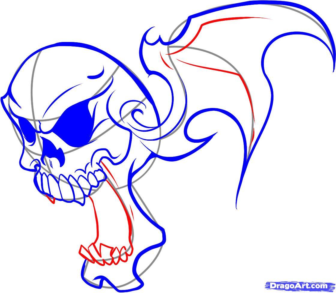 Как нарисовать татуировку череп в