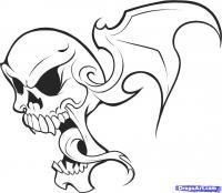 Фото татуировку: череп в пламени карандашом
