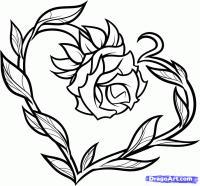 Фото татуировку цветка в форме сердца карандашом