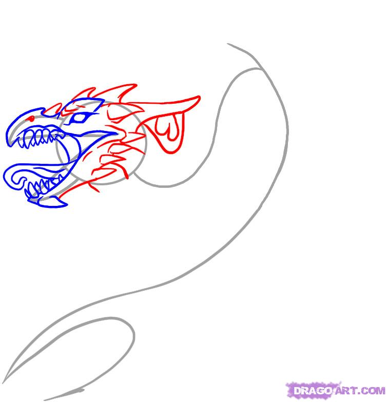 Рисовать тату поэтапно дракона