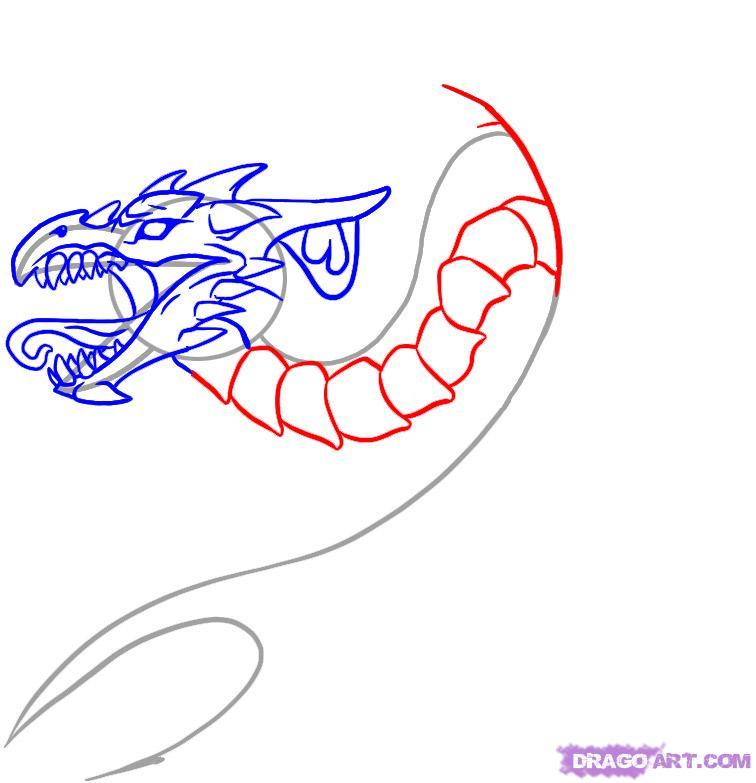Рисуем татуировку дракона для начинающих - шаг 5