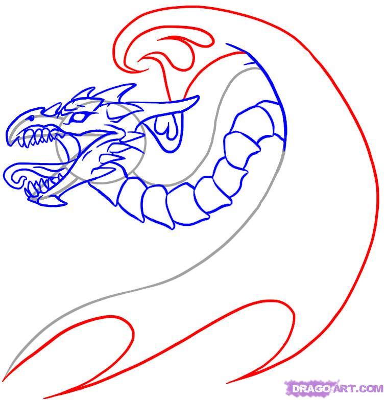 Рисуем татуировку дракона  для начинающих - шаг 6