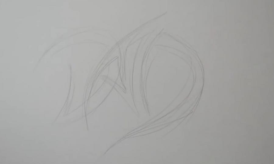 Рисуем татуировку дракона на бумаге - шаг 1