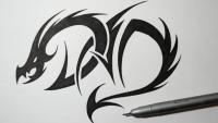 татуировку дракона на бумаге