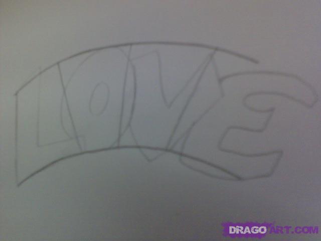Рисуем татуировку LOVE с сердцем - шаг 2
