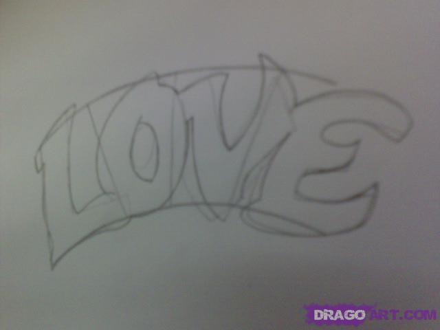 Рисуем татуировку LOVE с сердцем - шаг 3