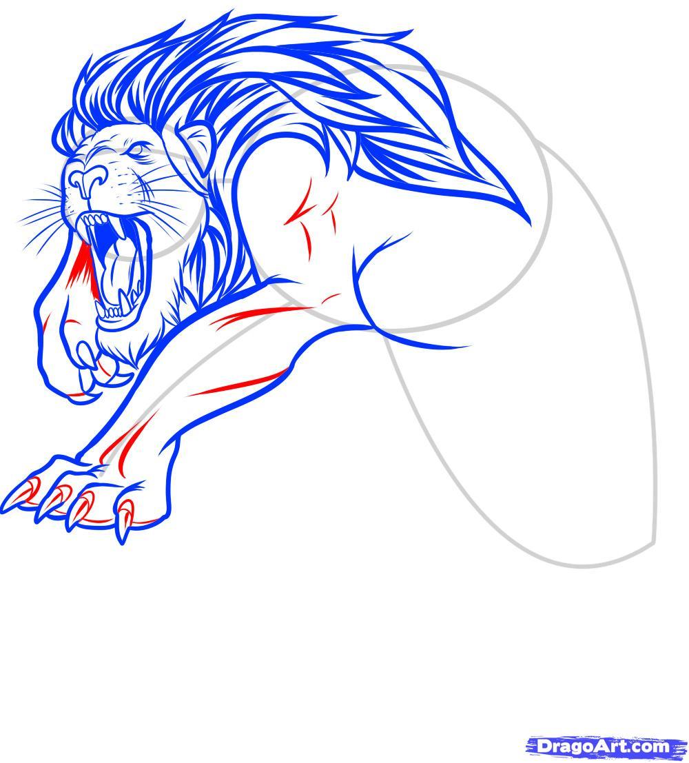 Рисуем татуировку льва - фото 10