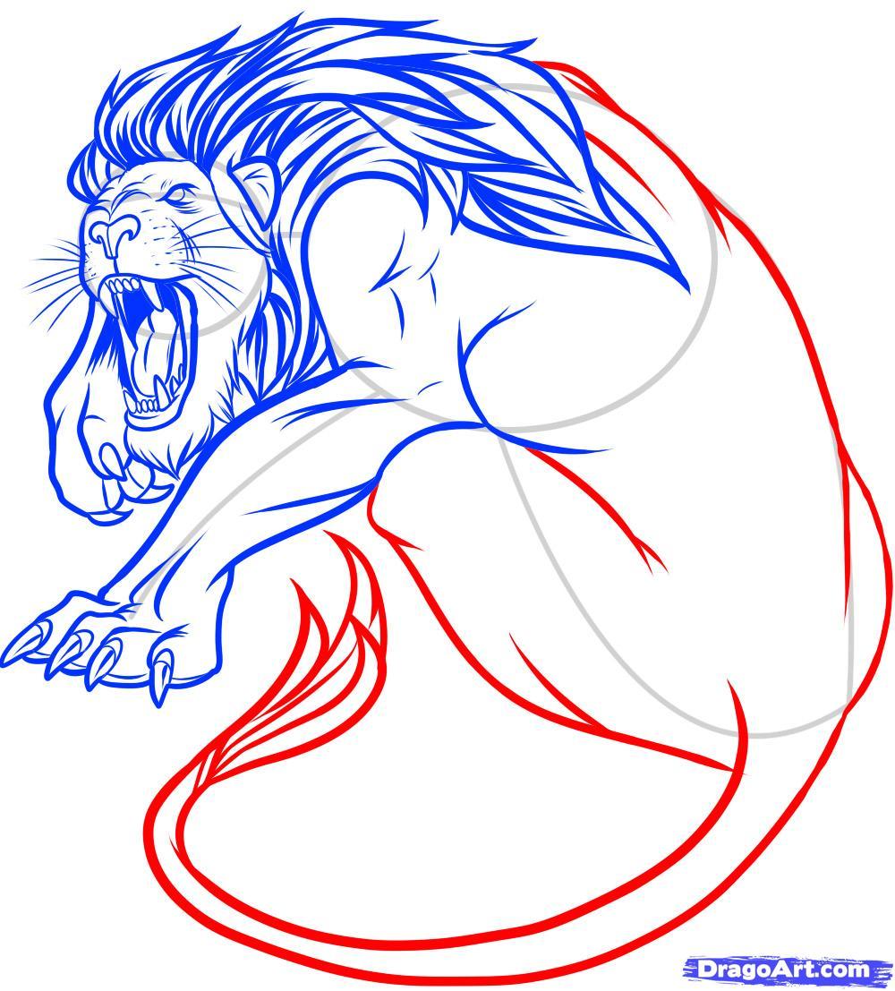 Рисуем татуировку льва - фото 11