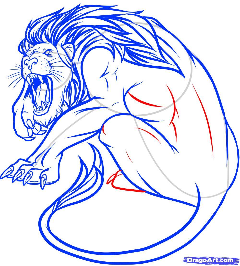 Рисуем татуировку льва - фото 12