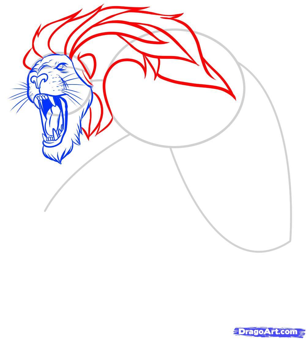 Рисуем татуировку льва - фото 7