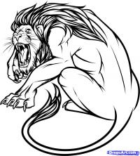 татуировку льва карандашом