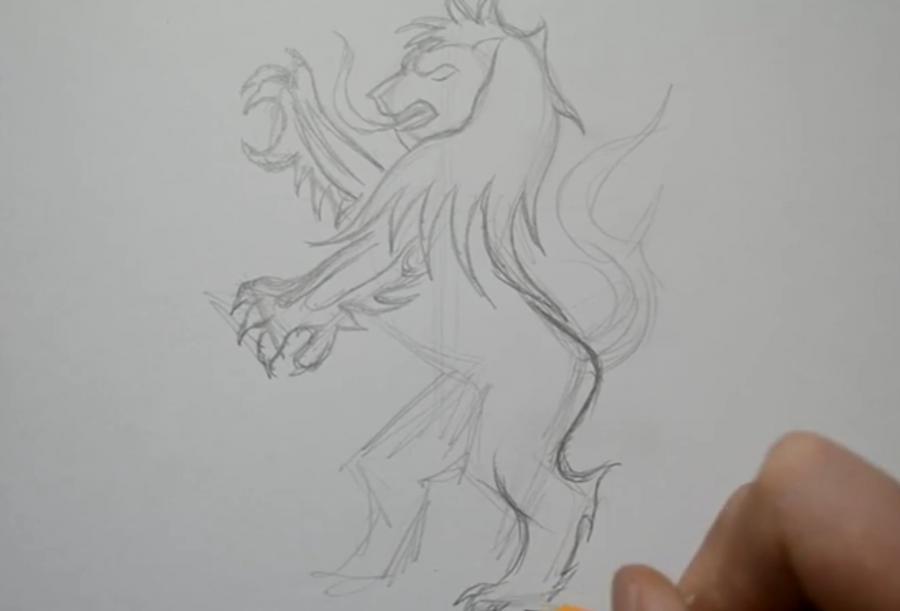 Как нарисовать татуировку льва на бумаге карандашом поэтапно