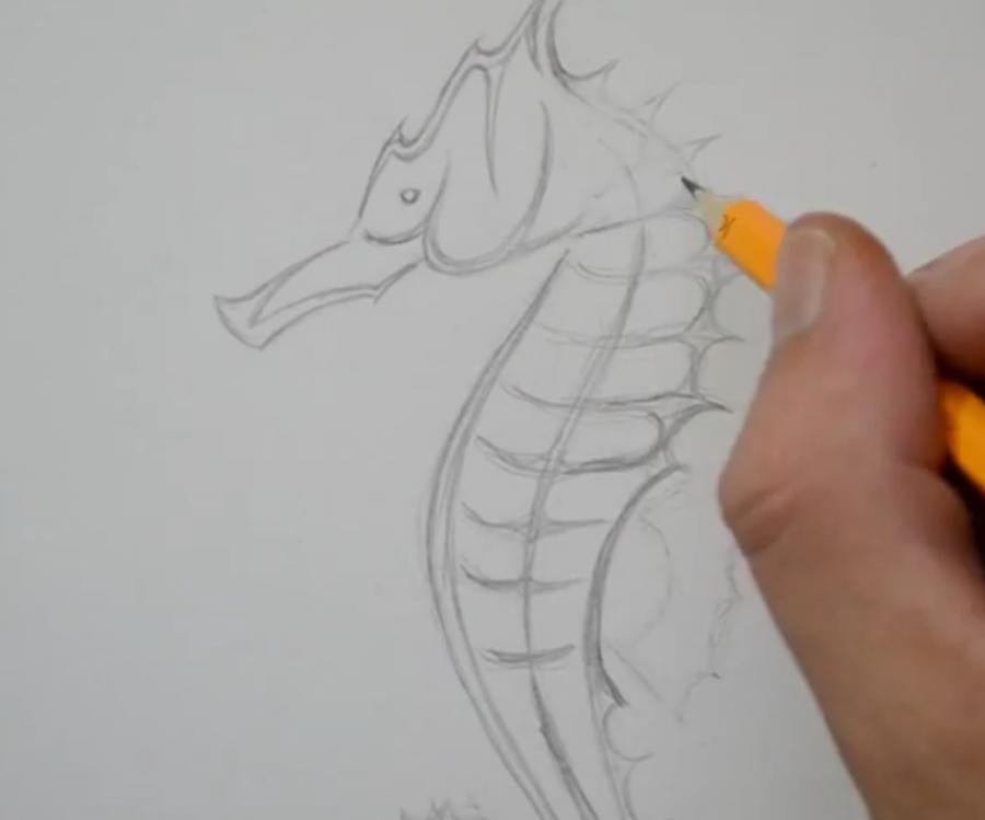 Рисуем татуировку морского конька - шаг 3