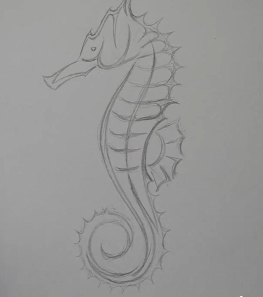 Рисуем татуировку морского конька - шаг 4
