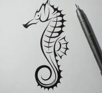 татуировку морского конька карандашом