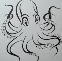 татуировку осьминога карандашом на бумаге