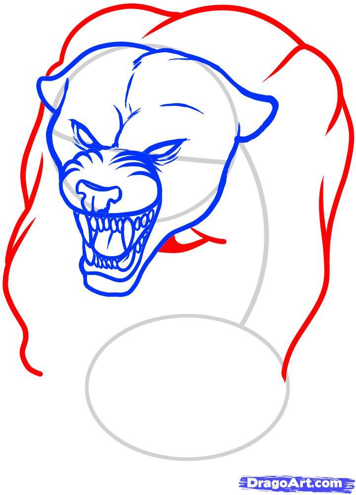 Рисуем татуировку пантеры - шаг 6