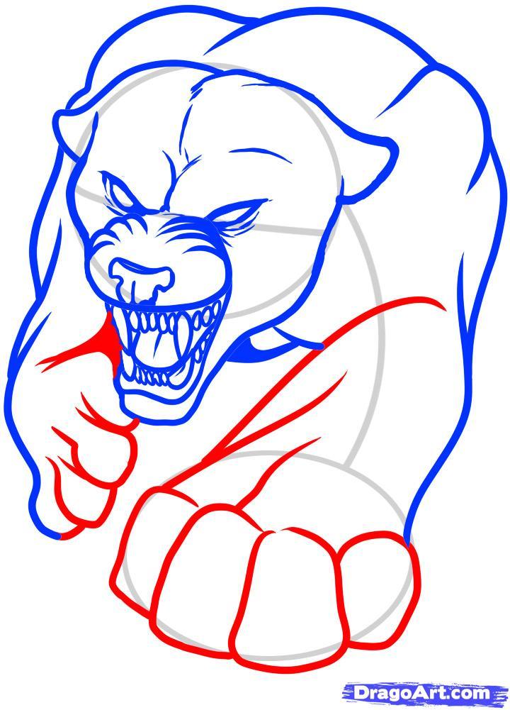 Рисуем татуировку пантеры - шаг 7
