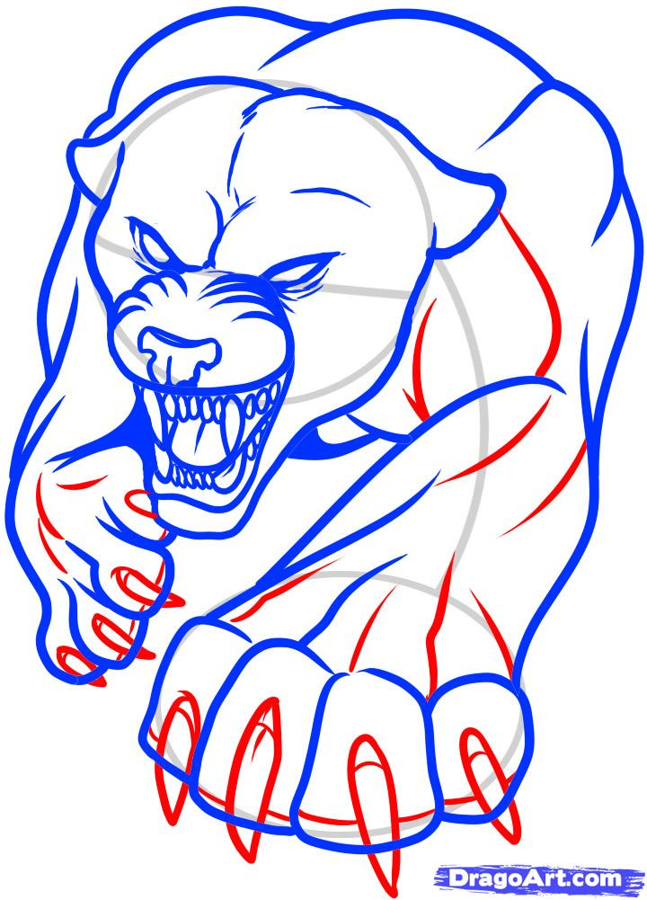 Рисуем татуировку пантеры - шаг 8