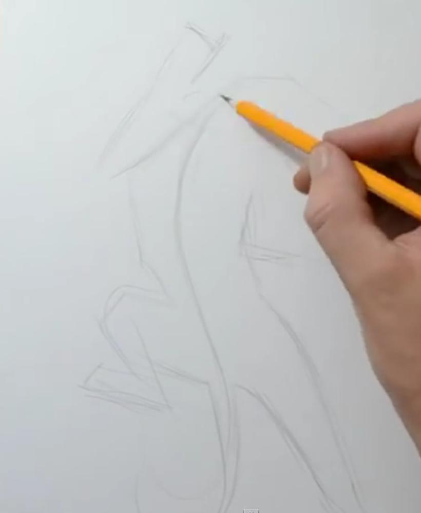 Рисуем татуировку пантеры - шаг 1