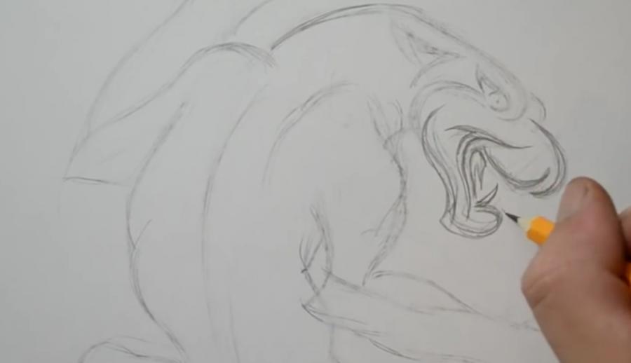 Как нарисовать татуировку пантеры на бумаге карандашом