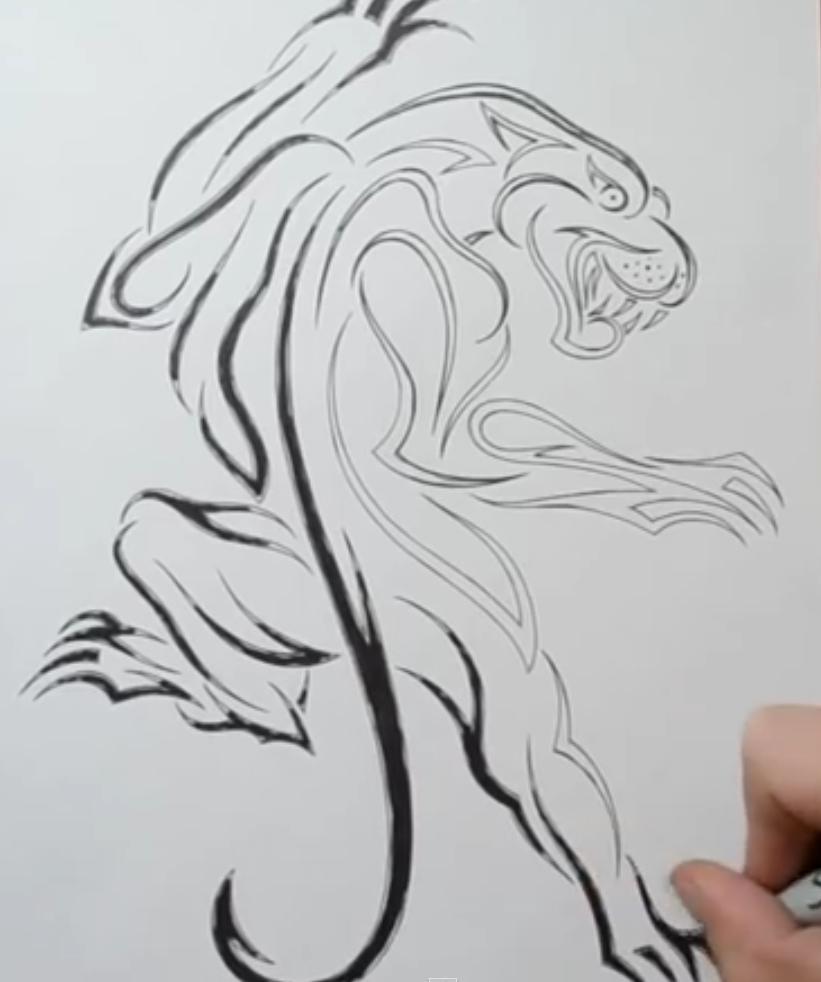 Рисуем татуировку пантеры - шаг 5