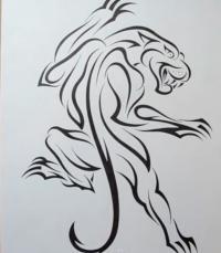 татуировку пантеры на бумаге карандашом