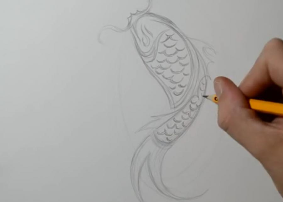 Рисуем татуировку рыбы - шаг 2
