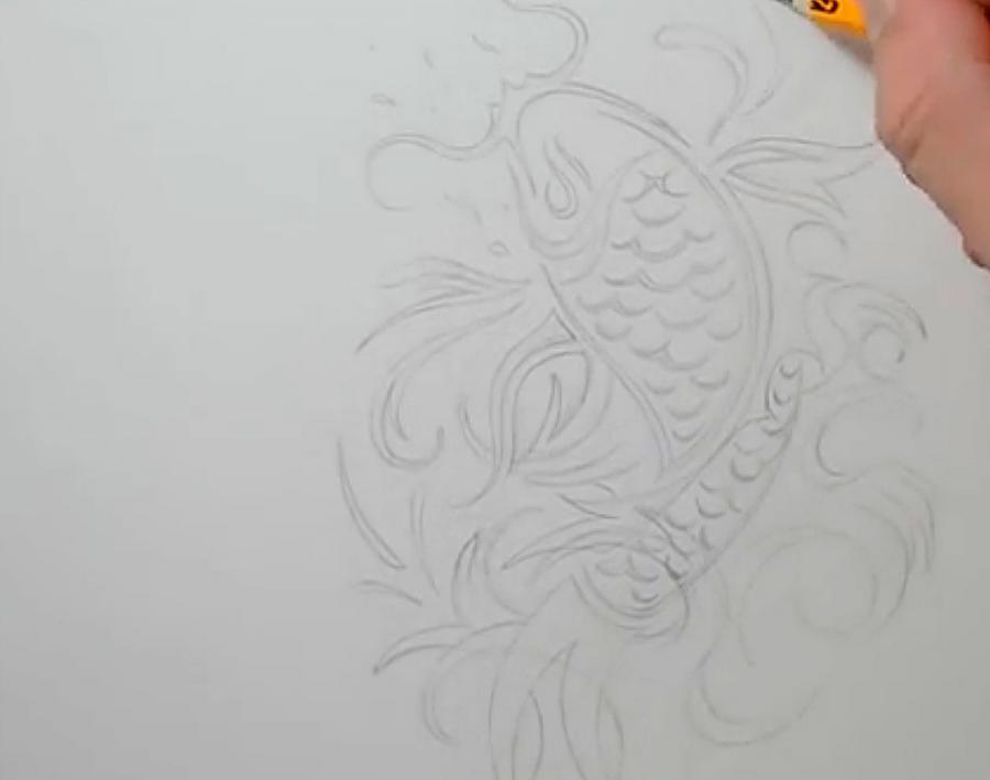 Рисуем татуировку рыбы - шаг 3