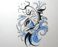 татуировку рыбы карандашом