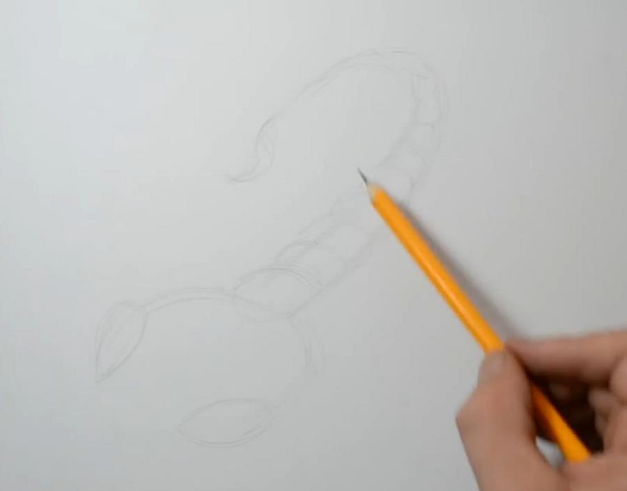 Рисуем татуировку скорпиона  на бумаге