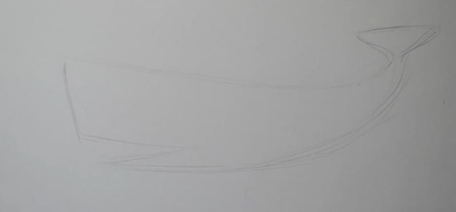 Рисуем татуировку в виде кита  на бумаге