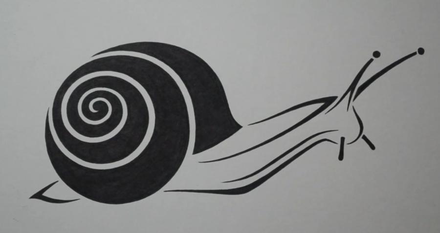 Рисуем татуировку в виде улитки