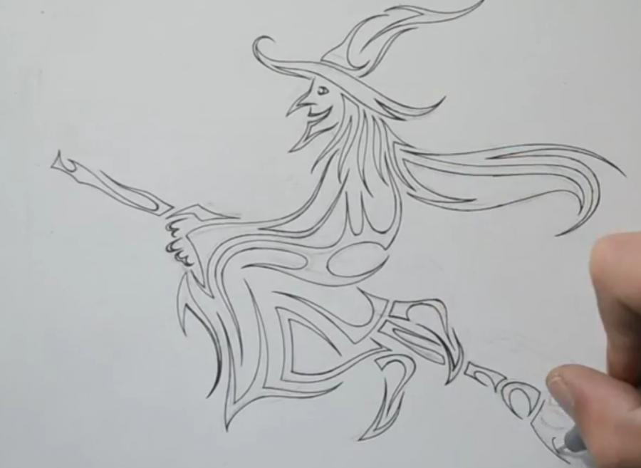 Рисуем татуировку ведьмы на метле - фото 5