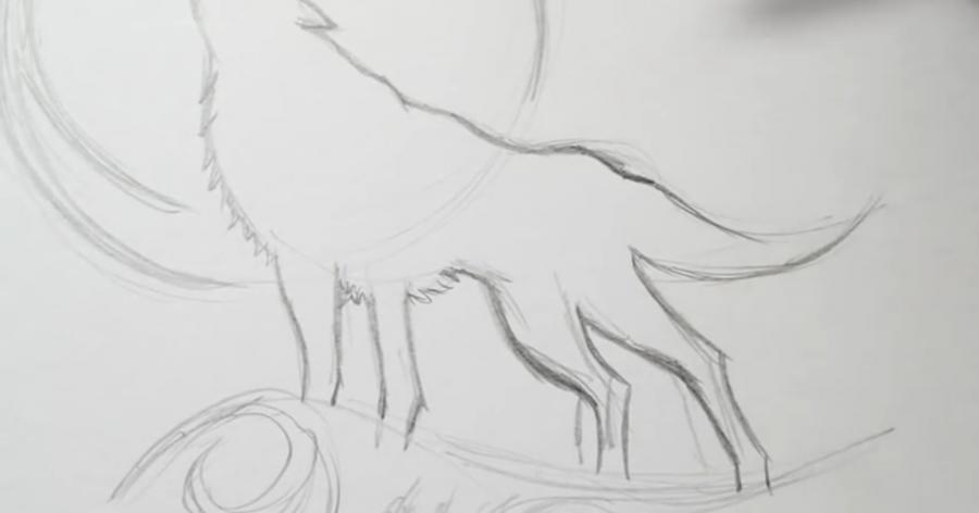 Рисуем татуировку волка - шаг 4