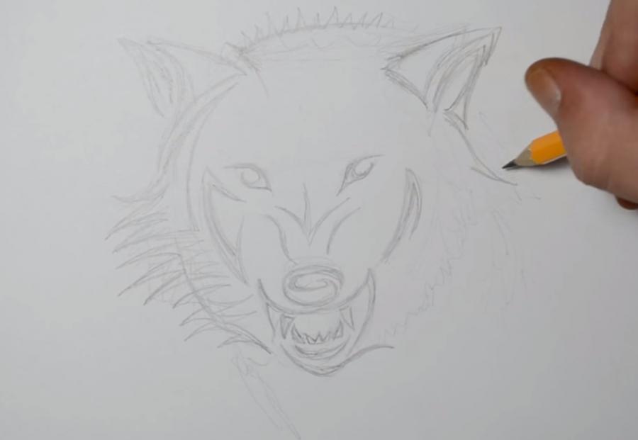 Рисуем татуировку злого волка шаг за шагом - шаг 3