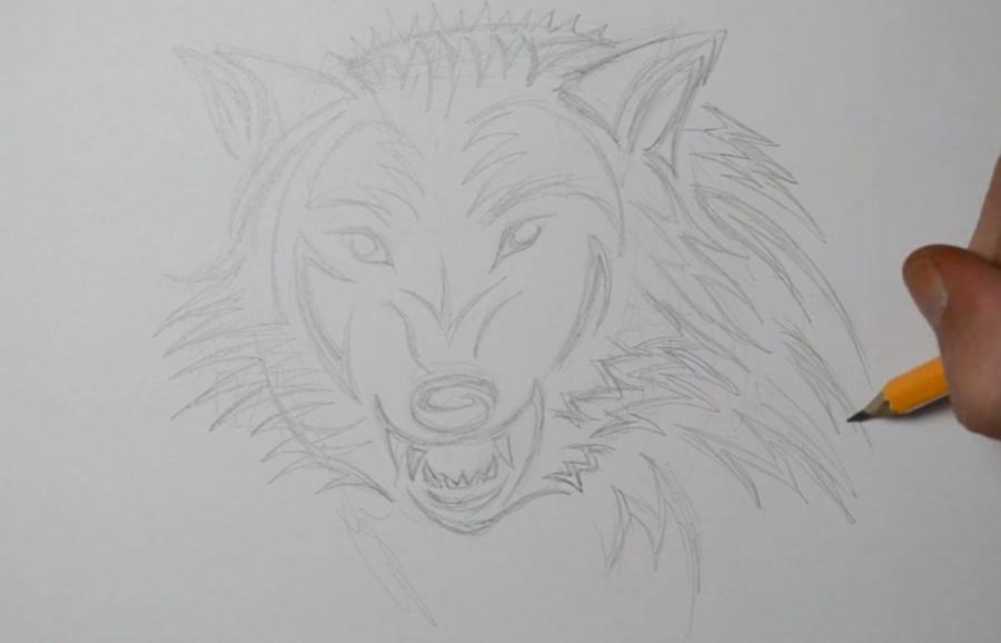 Рисуем татуировку злого волка шаг за шагом - шаг 4