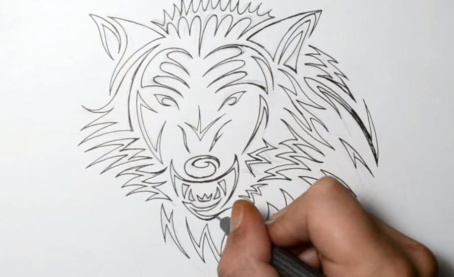 Рисуем татуировку злого волка шаг за шагом - шаг 5