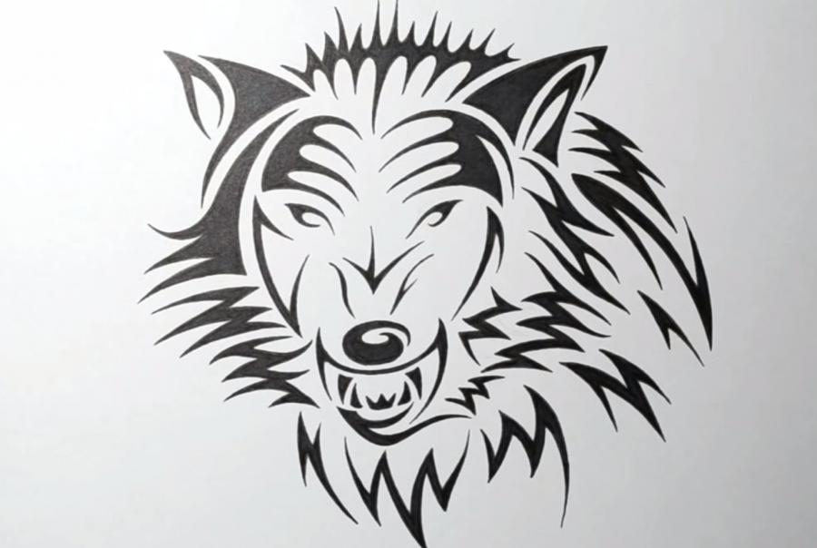 Рисуем татуировку злого волка шаг за шагом - шаг 6