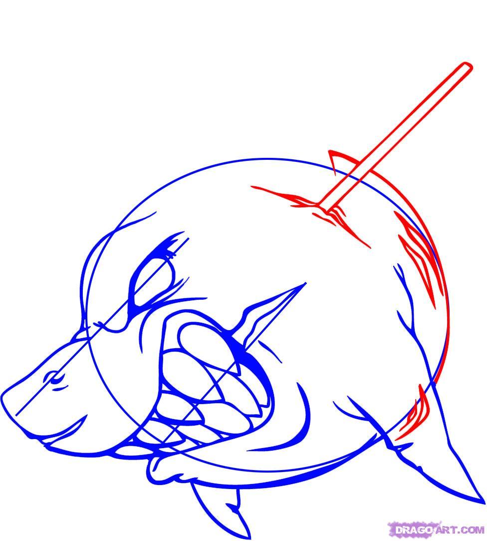 Рисуем татуировку злой акулы - шаг 6
