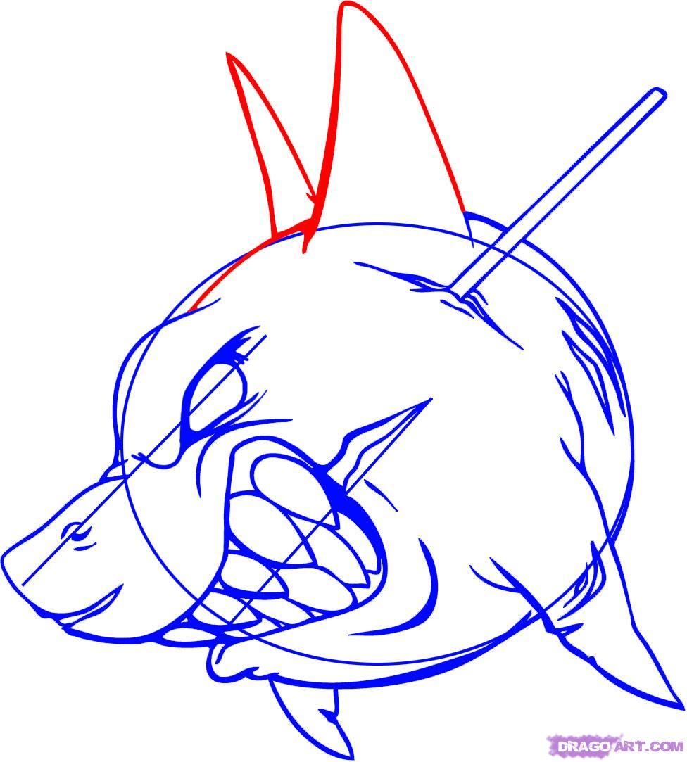 Рисуем татуировку злой акулы - шаг 7
