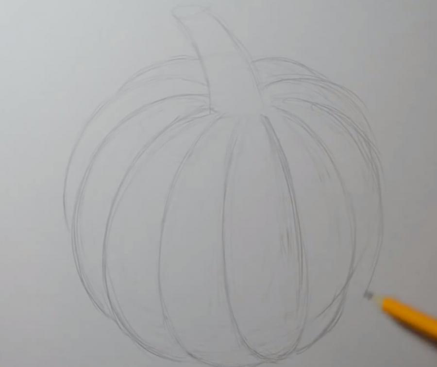 Рисуем тыкву в стиле тату