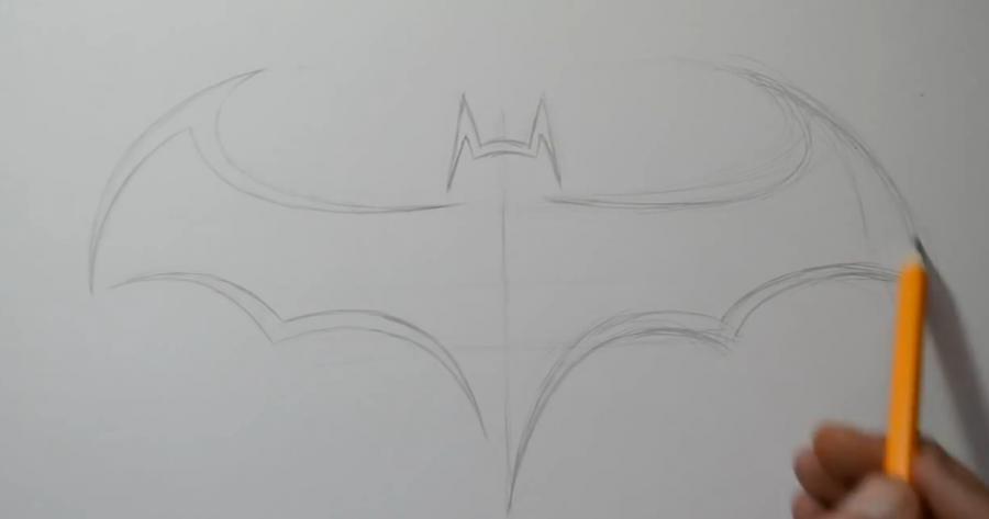 Как нарисовать знак бэтмена в стиле тату карандашом поэтапно