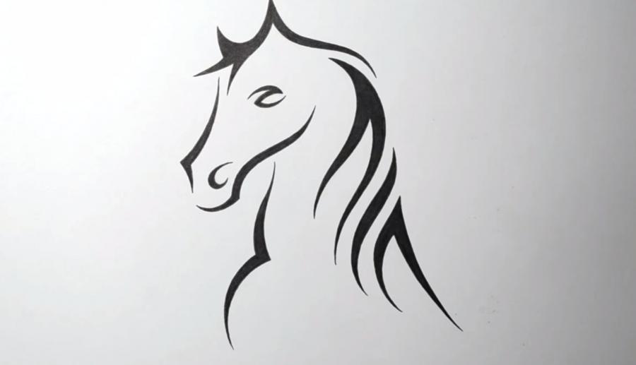Как научиться рисовать татуировку коня на бумаге шаг за шагом - шаг 4