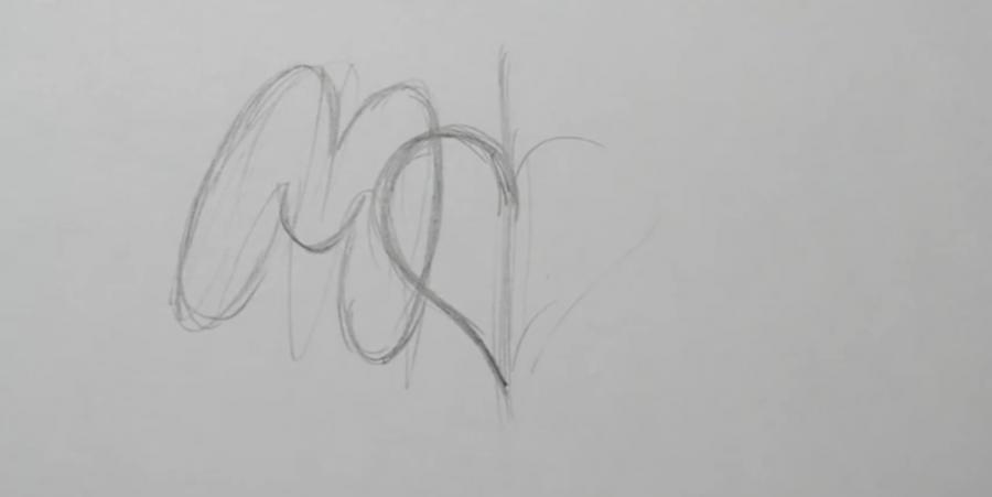 Учимся рисовать слово mom с крыльями и сердцем в стиле тату - шаг 1