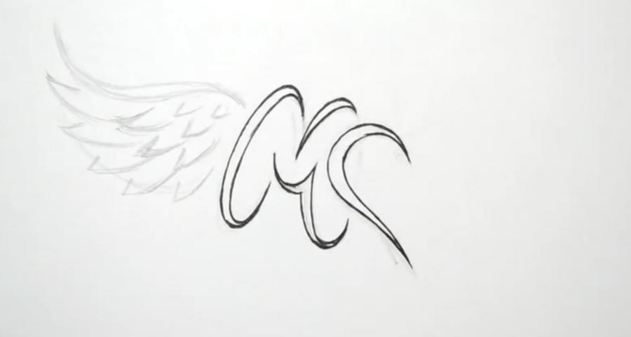 Учимся рисовать слово mom с крыльями и сердцем в стиле тату - шаг 3