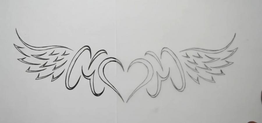 Учимся рисовать слово mom с крыльями и сердцем в стиле тату