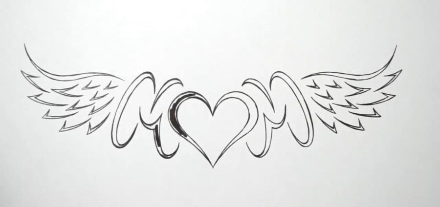 Учимся рисовать слово mom с крыльями и сердцем в стиле тату - шаг 6